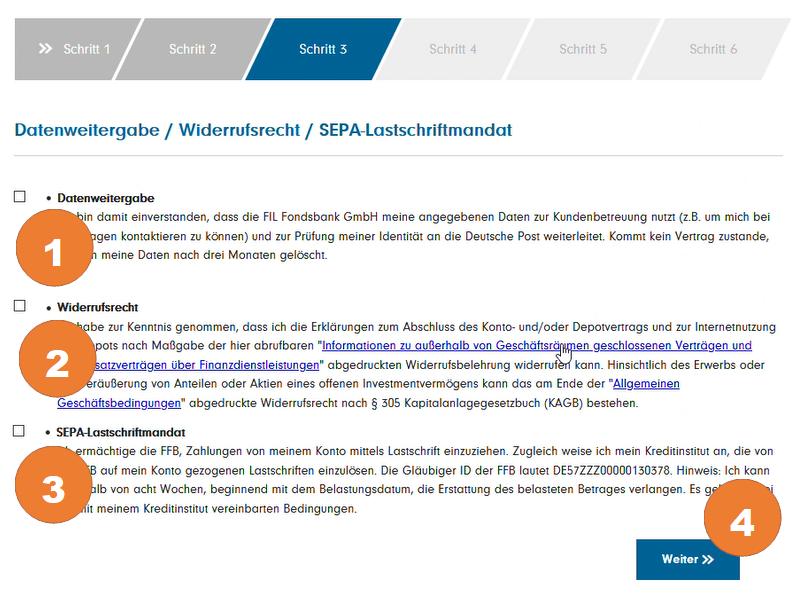 """Bestätigen Sie die Datenweitergabe (1), das Widerrufsrecht (2) und das SEPA Lastschriftmandat (3). Klicken Sie auf """"Weiter"""" (2)"""