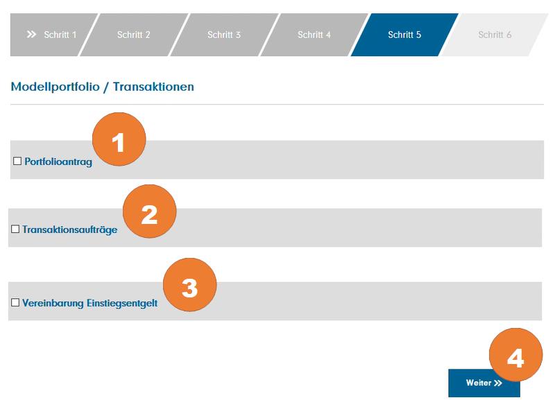 """Bestätigen Sie den Portfolioantrag (1), die Transaktionsaufträge (2) und die Vereinbarung zum Einstiegsentgelt (3). Klicken Sie auf """"Weiter"""" (4)"""
